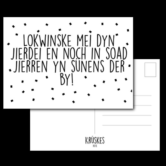 Wonderlijk Kaart Lokwinske Mei Dyn Jierdei - Zwart/wit - A6 - Friese kaart XZ-78