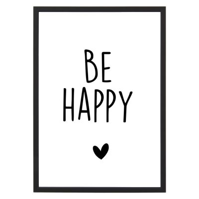 Poster Be Happy - A4 - Krúskes.nl