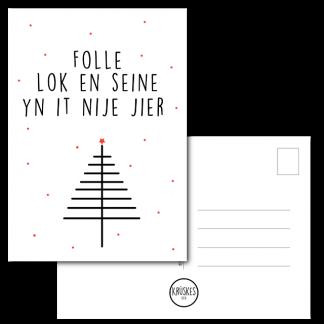 Kerstkaart Folle lok en seine yn it nije jier - Krúskes