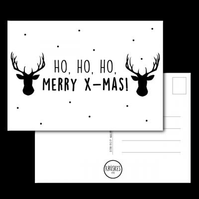 Kerstkaart Ho, Ho, Ho, Merry x-mas - Krúskes