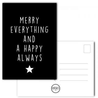 Kerstkaart Merry everything and a happy always - Krúskes