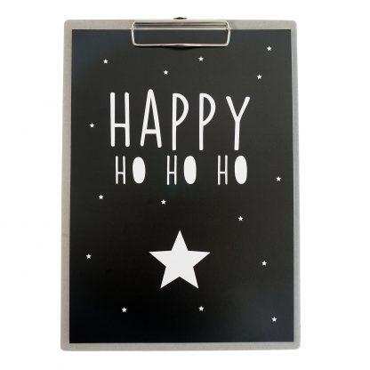 Poster Happy Ho Ho Ho - Grijs Klembord A4 - Krúskes.nl