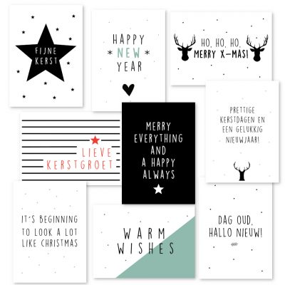 Kerstkaartenset Engels- en Nederlandstalig 9 kaarten