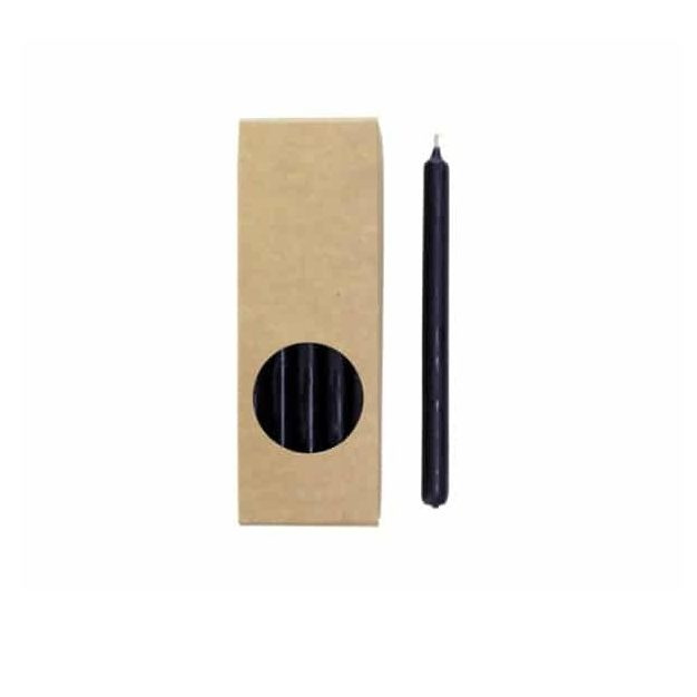 Potloodkaarsen - Zwart - 10 stuks - 17,5 cm