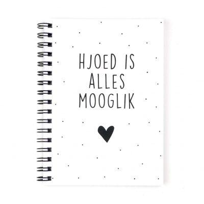 Voorkant Friese notitieboekje - Hjoed is alles mooglik - Wit - A6 - Krúskes.nl