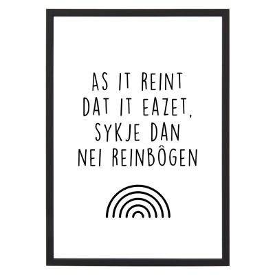 Poster As It Reint met lijst - Zwart wit - A4 - Krúskes.nl