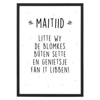 Poster Maitiid met lijst - Zwart wit - A4 - Krúskes.nl