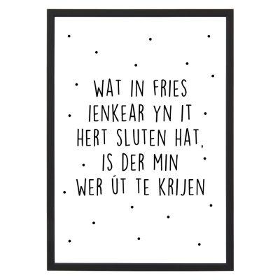 Poster Wat in Fries met lijst - Zwart wit - A4 - Krúskes.nl