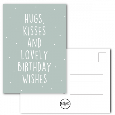 Kaart Hugs, Kisses and Lovely Birthday Wishes - Kruskes